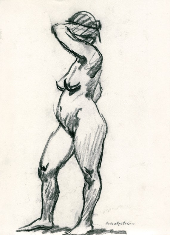 Created multicoloured thousands charcoal drawing female nude