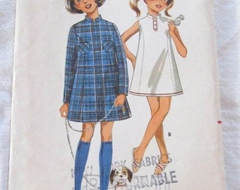 vintage BUTTERICK 5119 sewing pattern-- Girls' One Piece Dress-  size 10 (1960s)