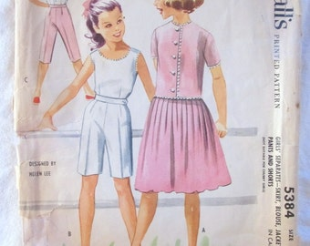 vintage McCALL'S 5384 --Size 7 -Girls Separates: skirt, blouse, jacket, pants and shorts (1950s)