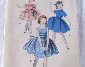 vintage BUTTERICK 8105 size 6 sewing pattern (1940s) --  Girl's School and Party Dresses