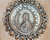 St. Monica, Patron Saint of Mothers with Drug and Alcohol Addicted Children, Troubled Teens, Crystal Holy Medal Necklace