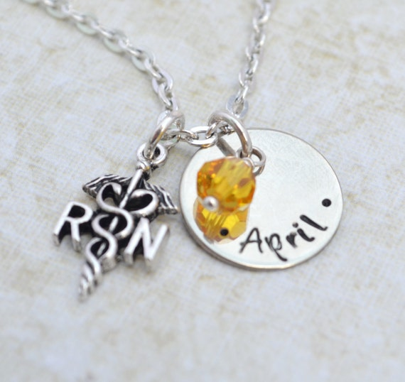 Personalized Nurse Necklace, Hand Stamped Jewelry, Custom Neckace RN LPN Graduation Medical