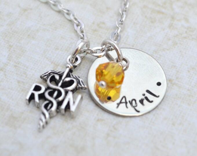 Personalized Nurse Necklace, Hand Stamped Jewelry, Custom Neckace RN LPN Graduation Medical