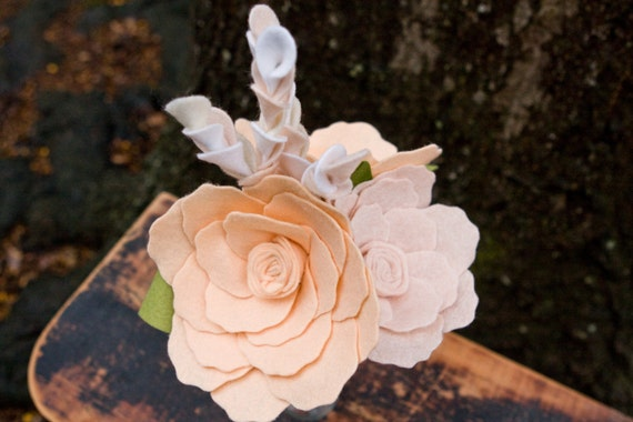 Ready to Ship - Felt Flowers - Bedside Flowers - Peach Bridesmaid Bouquet  -