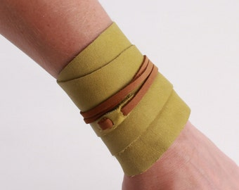 Genuine Leather Green and Brown Wrap Cuff