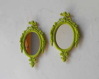 Spring Green Mirror Set in Small Vintage Italian Brass Frames, Apartment Decor, Wall Collage