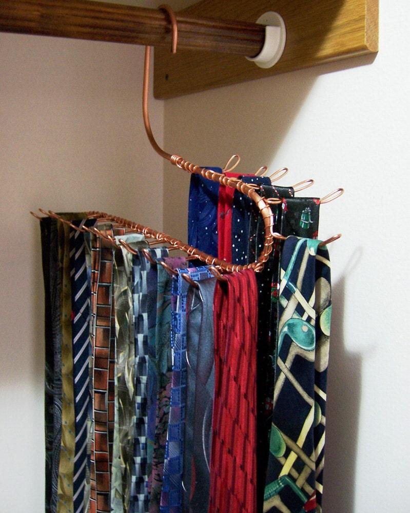 Tie Rack Jewelry Hanger Closet Storage Long Hook Copper