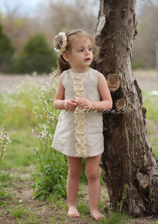 Rustic Flower Girl Dress Linen Ruffle Dress by HappyLittleDress
