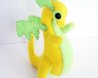 Baby Dragon felt plush stuffed animal- Lemon yellow with Lime Green