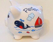 Personalized Piggy Bank Navy Blue Whales with Sailboats, Fish and Ocean