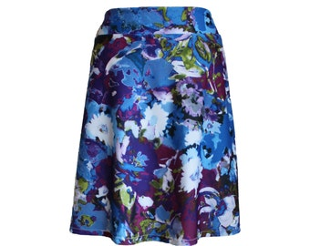 "Abstract Floral Print Jersey Knit Travel Skirt in Blue and Purple, ""Recollection"" Skirt"