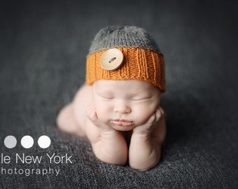 Newborn photo prop, newborn hat, newborn boy, newborn girl, knit newborn hat, newborn props, Newborn button beanie. Choose your own colors