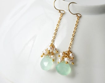 Bridesmaid Earrings, Pastel Jewelry, Seafoam Drop Earrings
