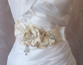 Elegant Ivory Bridal Sash, Rhineston and Pearl Wedding Belt, Flower Sash, White, Custom Colors - GRANDE PROMENADE
