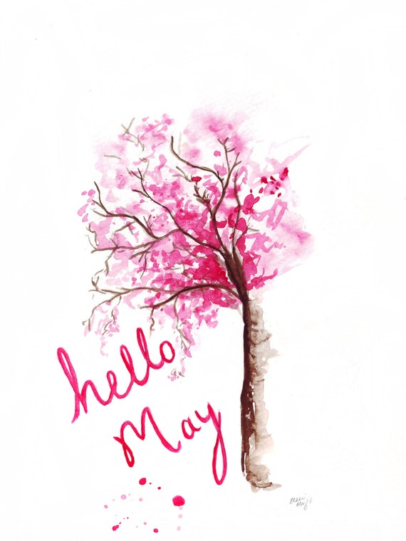 Watercolour illustration Titled Hello May