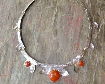 Sterling Silver Linked Necklace with Red Jasper Round Cabochons - Botanical Design, Branches, Veined Leaves - Silversmithed, Hand Forged