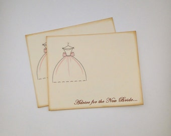 Bridal Shower Guest Book Alternative Cards - Set of 50 - Bridal Gown Wedding Advice