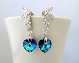 Peacock Wedding Earrings, Bermuda Blue Swarovski Crystal Earrings, Navy Blue Heart Earring, Bridesmaid Jewelry Gift, Drop Bridesmaid Earring
