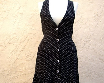 Vintage 80s / Black and White / Polka Dot / Jumper / Scooter Day Dress / SMALL
