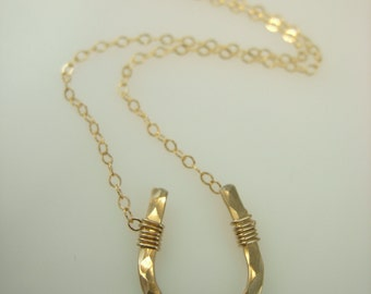 Gold Horseshoe Necklace - Lucky Horseshoe Necklace - 14k Gold fill Horse Shoe Necklace