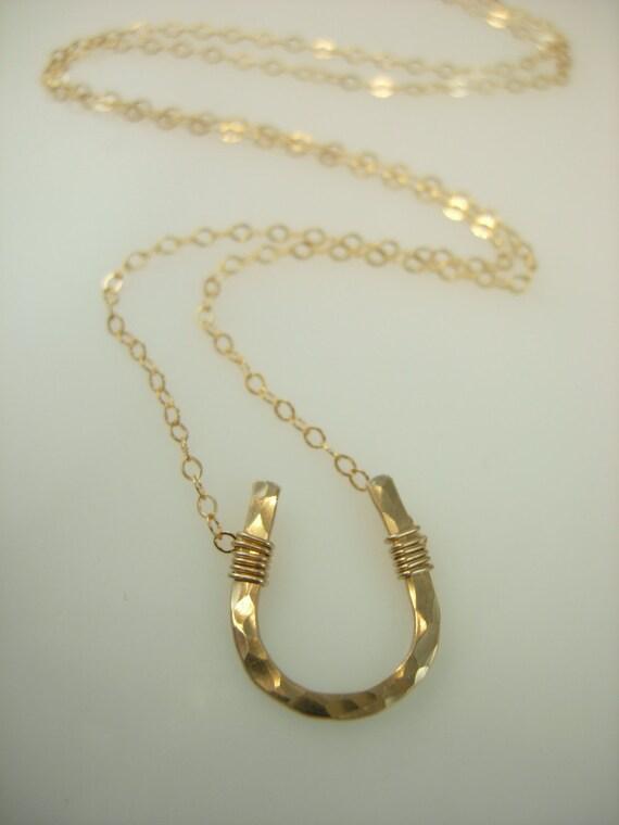 Gold Horseshoe Necklace - Lucky Horseshoe Necklace - 14k Gold fill Horse Shoe Necklace