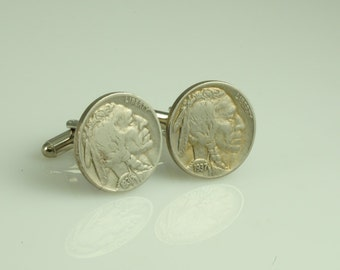 Indian Head Buffalo Nickel Cufflinks 21mm Vintage US Coins Very Cool  5 Cents 1935 and 1937 O-65