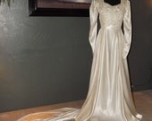1930s ivory bias-cut wedding gown with train - bodice gathers and lace accents - size 6/8 - RESERVED