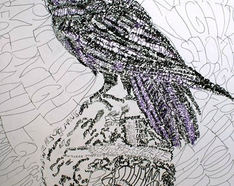The Raven, Handwritten Calligram, Art Card, Print Card, Poe, Blank Notecard