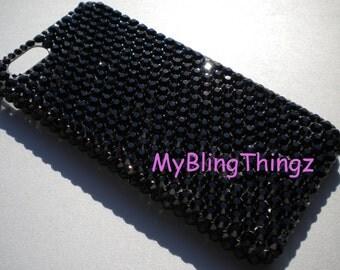For iPhone 4 4S - Jet Black Crystal Diamond Rhinestone BLING Back Case handmade with 100% Swarovski Elements
