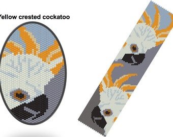 Yellow crested cockatoo peyote bracelet pattern: Instant Downloadable Pattern PDF File