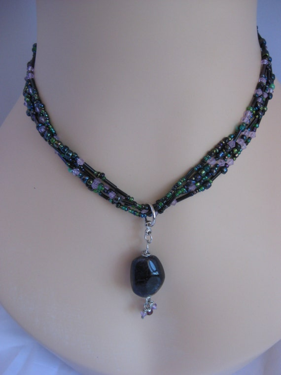 Iridescent Purple Beaded Multi-Stranded Necklace with Purple Stone Focal Bead