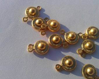 2 Pcs. Button Clasp ,Findings, Gold Plated Metal   G3