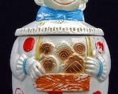 Vintage Retro Shabby Cottage Chic Kitsch Clown Cookie Jar Cookiejar