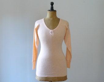Vintage 1970s deadstock camisole. 70s chemise. pink salmon wool underwear. lingerie