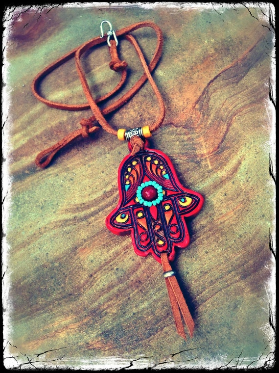 red HAMSA hand NECKLACE Fatima HAND necklace Gypsy protective jewelry Leather cord statement necklace hippie bohemian hand made unique