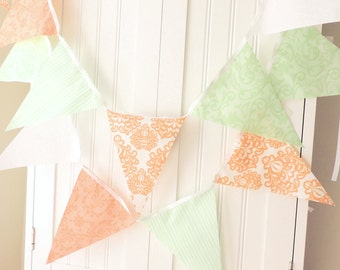 Bunting, Banner, Fabric Flags, Garland Soft Peach, Nectarine, Mint Green, Wedding Decor, Photo Prop, Baby Nursery Decor, Birthday Party