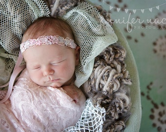 Neve- pink, grey and ivory floral lace tie back tieback halo headband