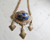 SALE-Antique Art Deco Blue GlassTassel Necklace