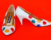 Vintage Proxy Label White Multi color dot Leather pumps
