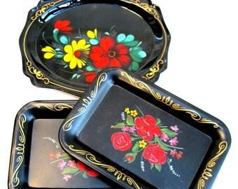 3 vintage trays.tole.metal.barware.serving.black.floral.russian.tessiemay