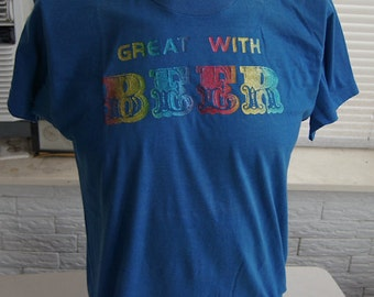 vintage (t shirt) GREAT WiTH BEER Rainbow Glitter Letters 80s (41 inches around chest)