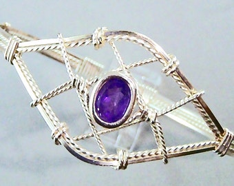 Amethyst Sterling Silver Wire Sculpted Gemstone Bangle