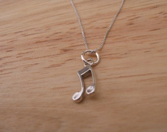 Music Note Charm Necklace, Octave Charm Necklace, Sterling Silver Charm Necklace, Simple Charm Necklace,