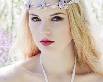 Lilac and White Rose Flower Crown, Flower Crown, Lilac Rose Headband, Wedding Festival Headband, Lilac Rose Headband, Coachella Flower Crown