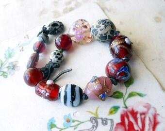 Beaded Bracelet - Chunky Bracelet -  Polymer Clay, Lampwork Glass, Stone  - Rustic Assemblage Bracelet