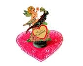 Vintage Mechanical Valentine Fairy on Rocking Grasshopper Sweetheart Valentine's Day Ephemera Red Green Blue