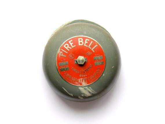 Fire Bell Vintage Industrial Edwards Company Alarm Single Stroke Gray Red Metal
