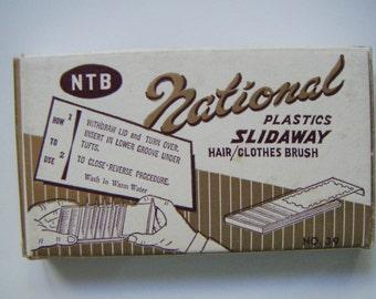 Vintage Brush National Plastics Slidaway Brush in Original Box