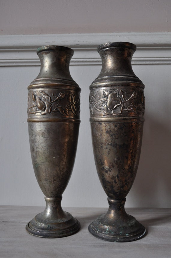 Pair Of Tall Slim Metal Urns Or Vases From France