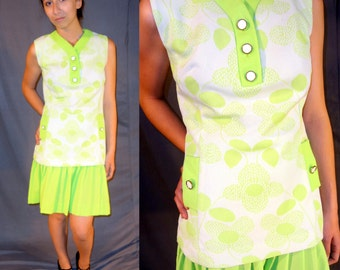 Neon Green Mod 1960's Tennis Mini Dress - 2 Piece Set - Medium Large